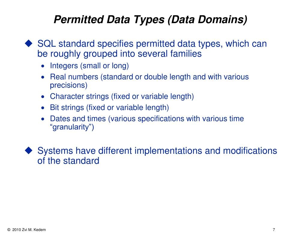 Permitted Data Types (Data Domains)