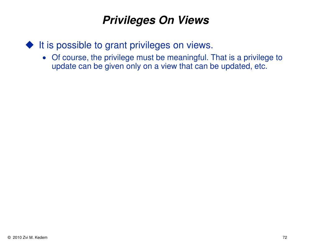 Privileges On Views