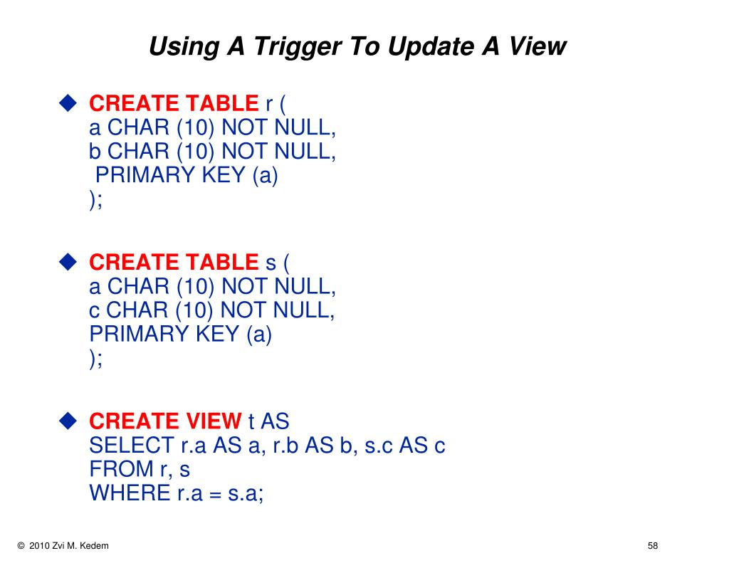 Using A Trigger To Update A View