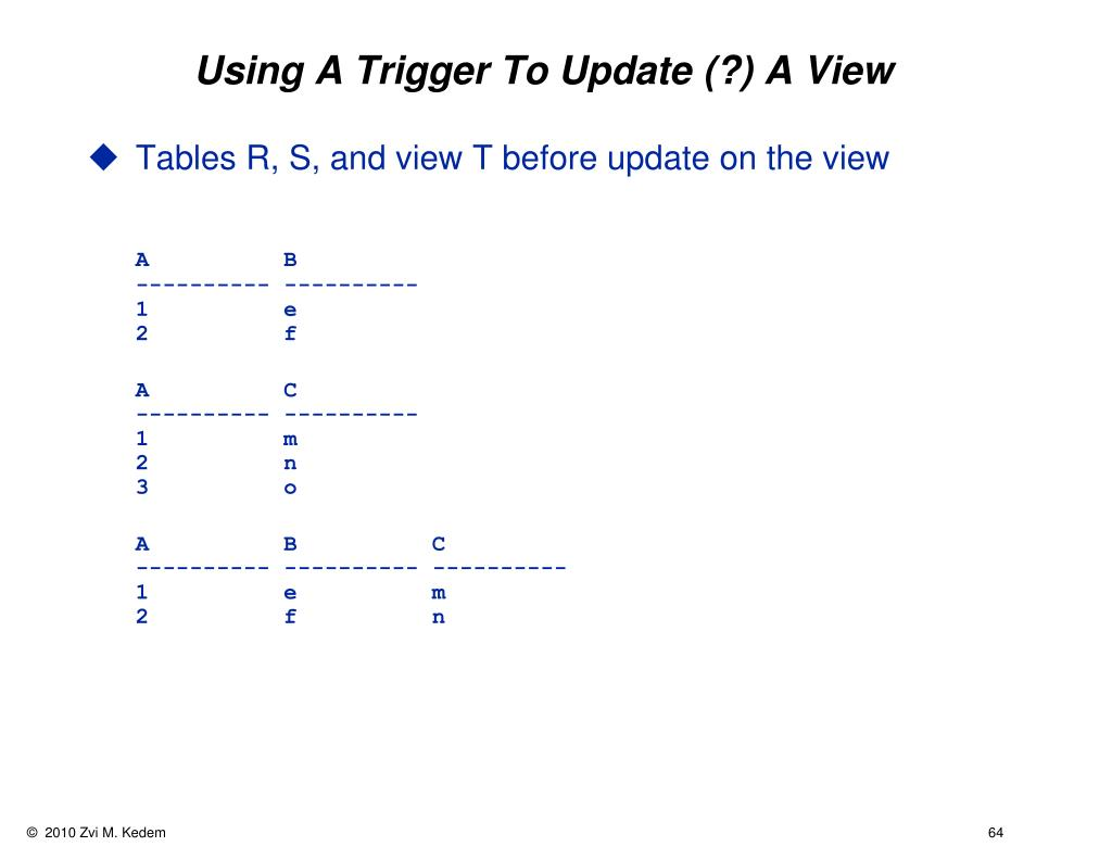 Using A Trigger To Update (?) A View