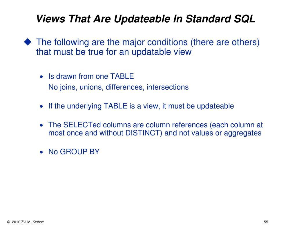 Views That Are Updateable In Standard SQL