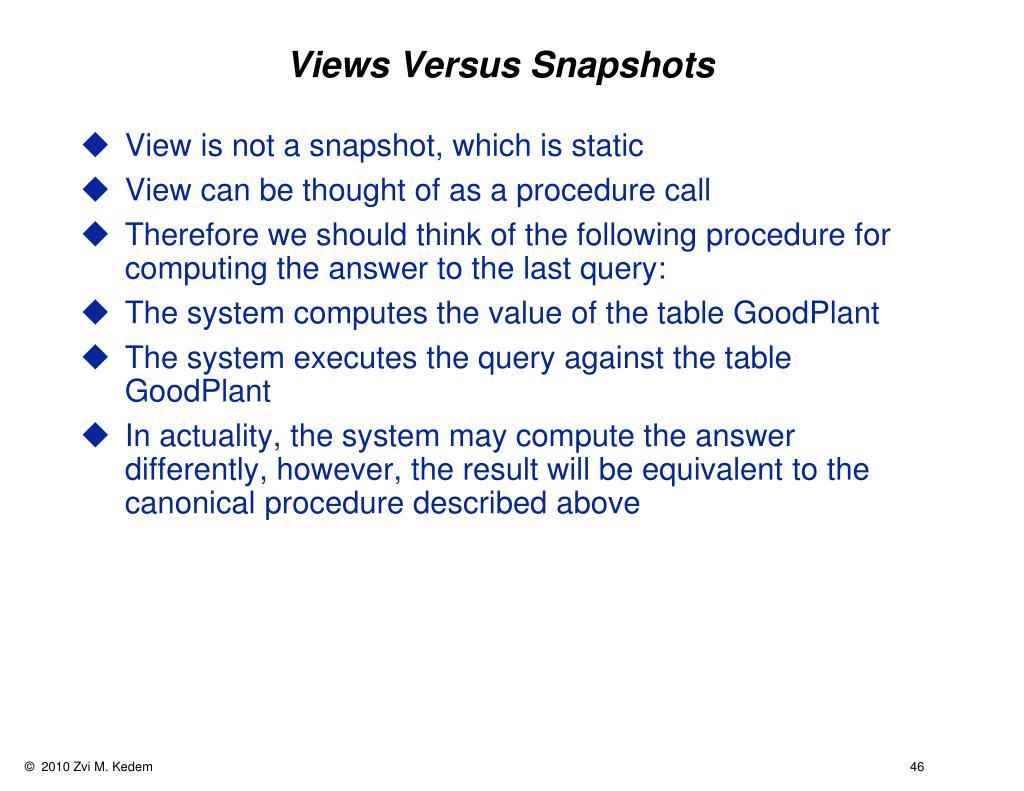 Views Versus Snapshots