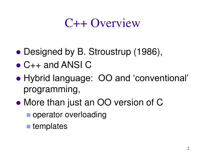 C++ Overview