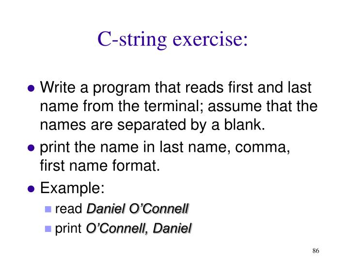 C-string exercise: