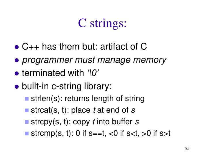 C strings: