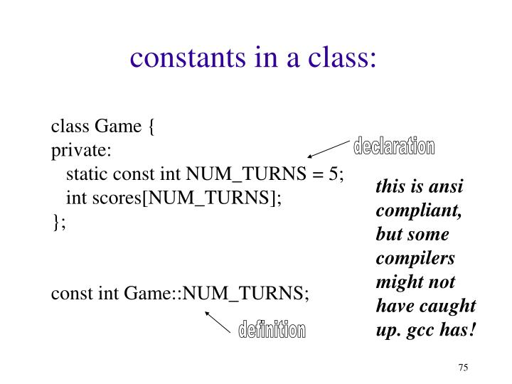 constants in a class: