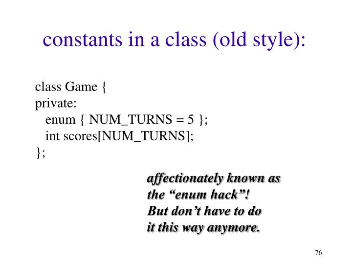 constants in a class (old style):