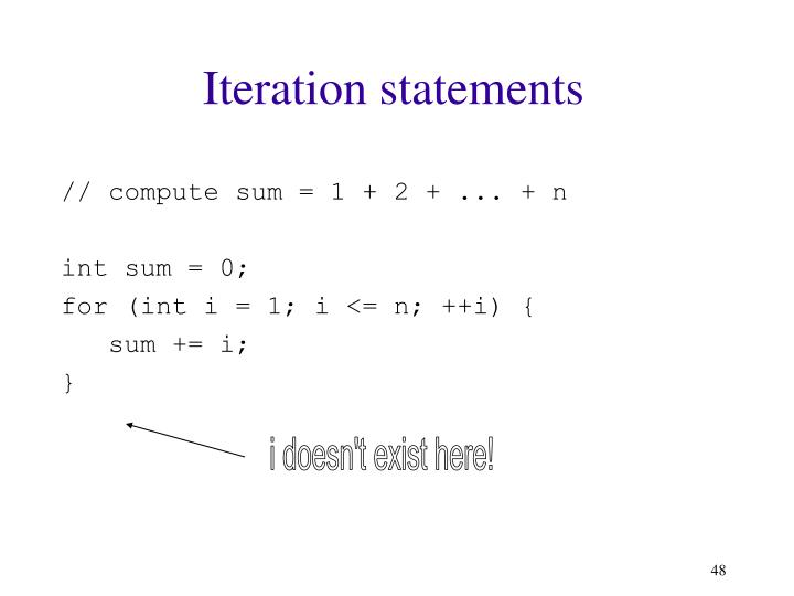 Iteration statements
