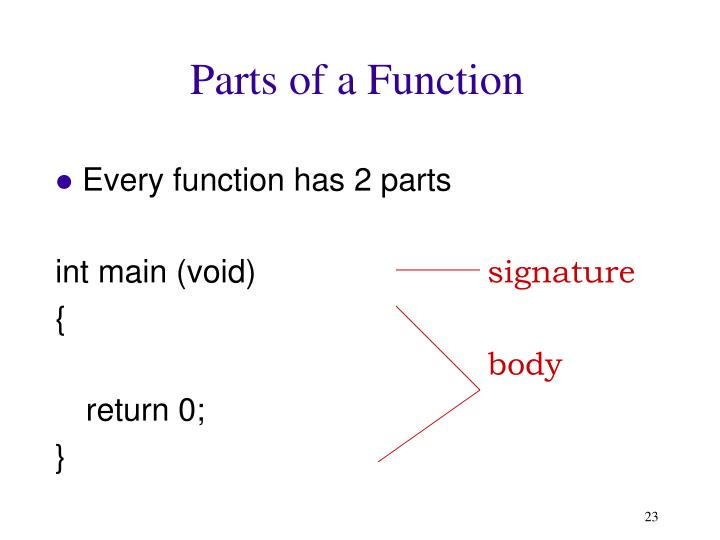 Parts of a Function