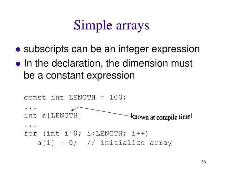 Simple arrays