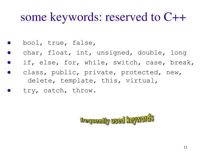 some keywords: reserved to C++