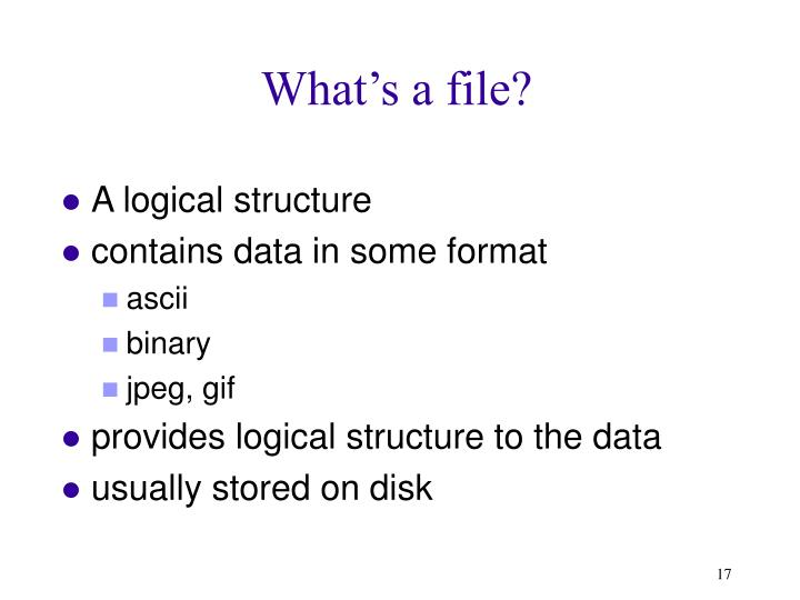 What's a file?