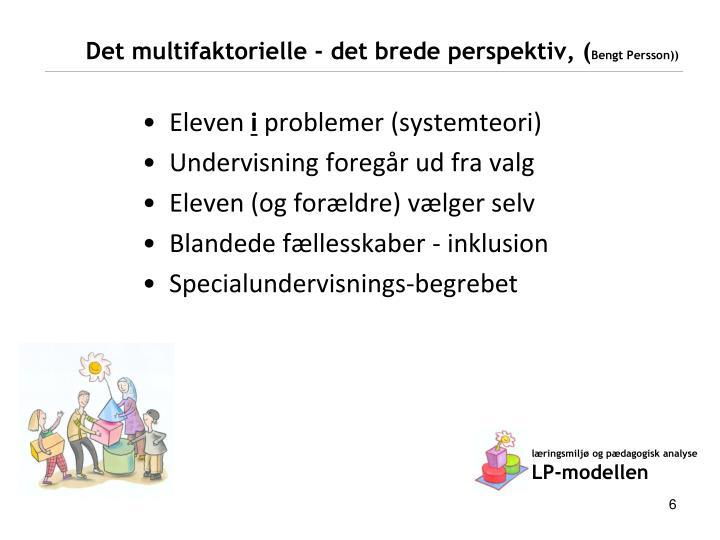Det multifaktorielle - det brede perspektiv, (