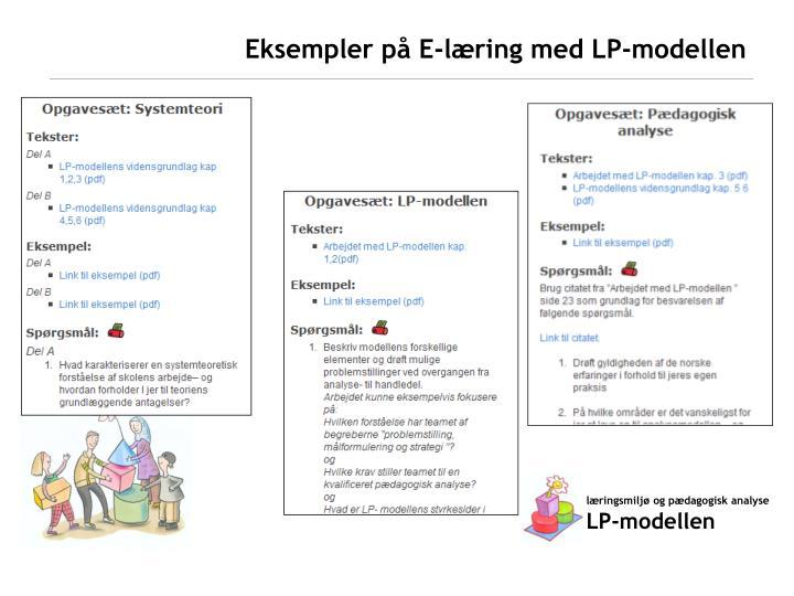Eksempler på E-læring med LP-modellen