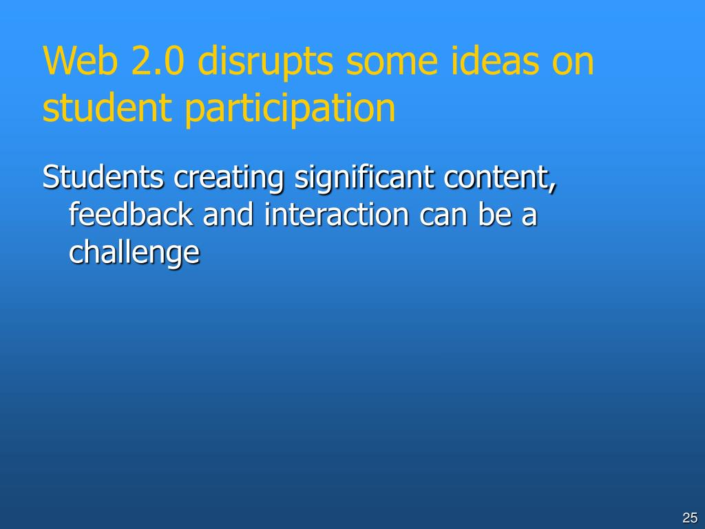 Web 2.0 disrupts some ideas on student participation