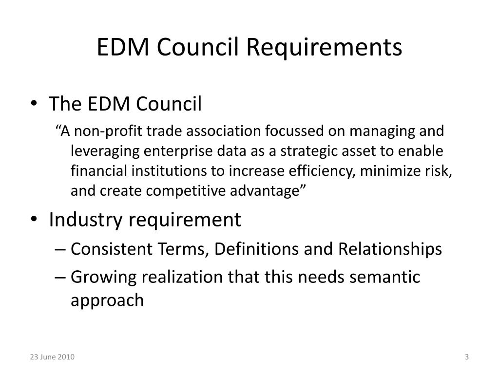 EDM Council Requirements