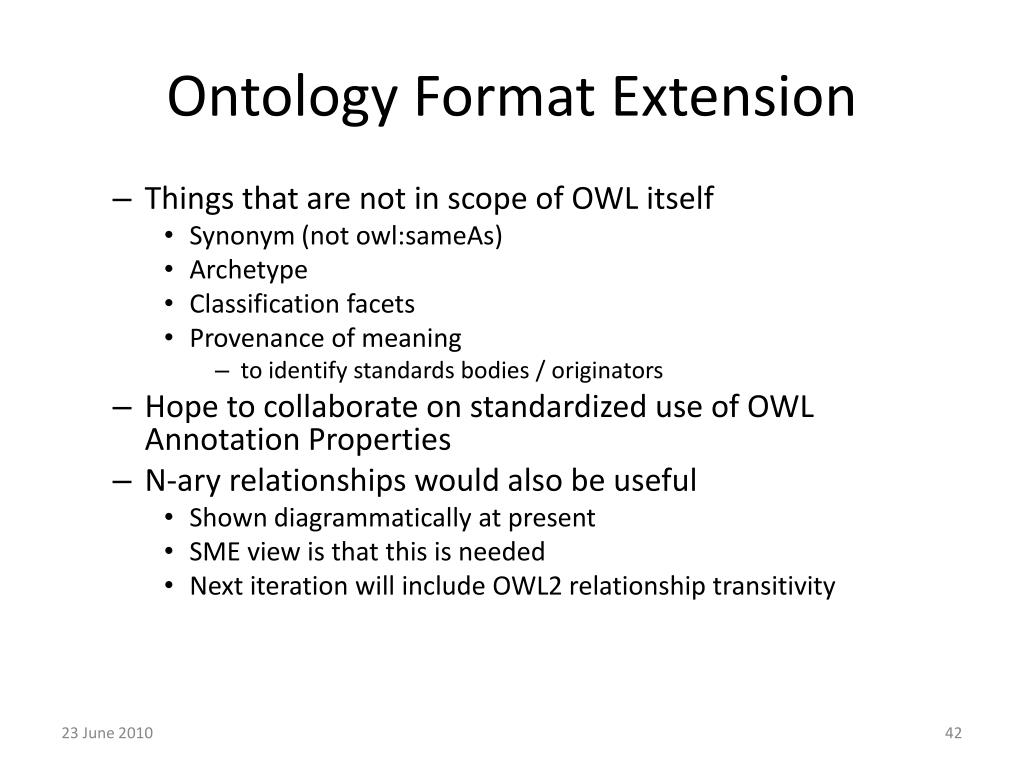 Ontology Format Extension