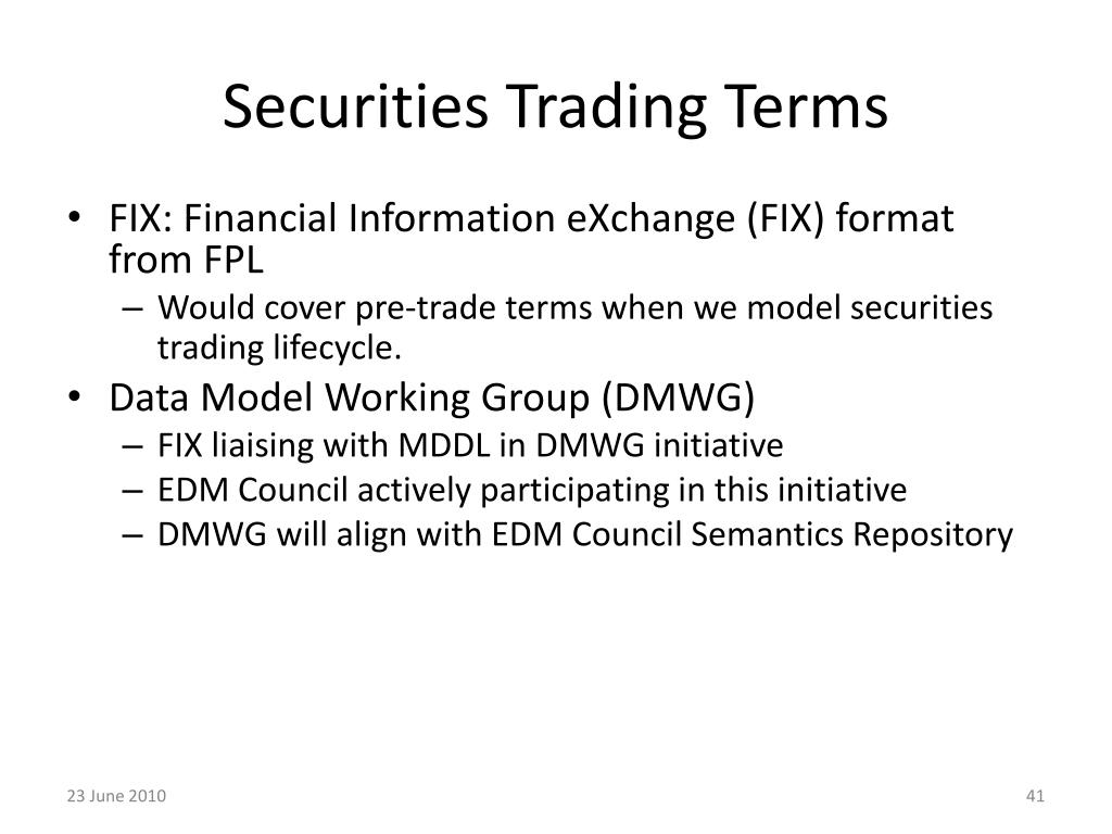 Securities Trading Terms