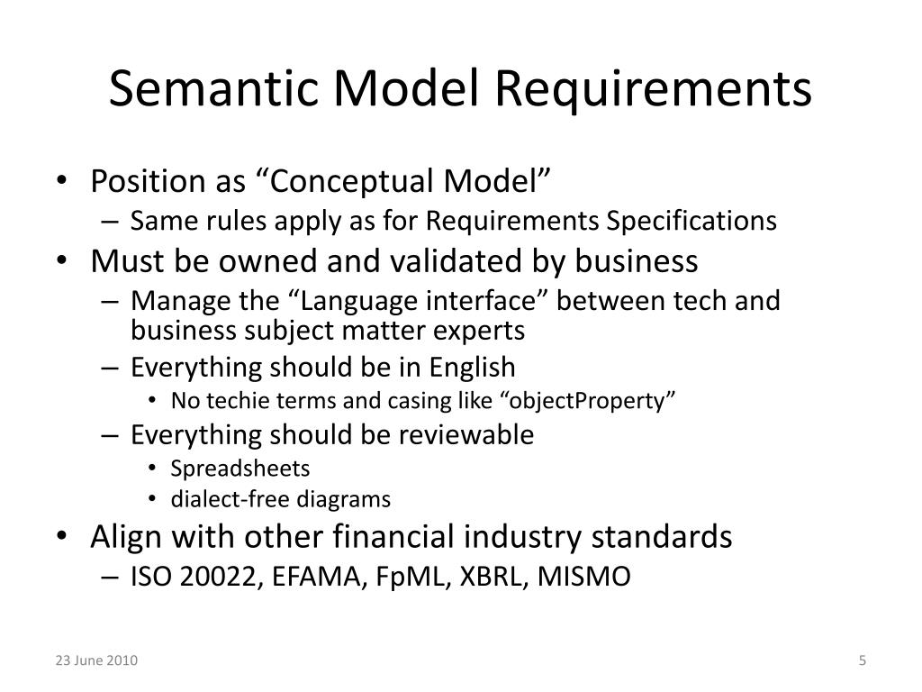 Semantic Model Requirements