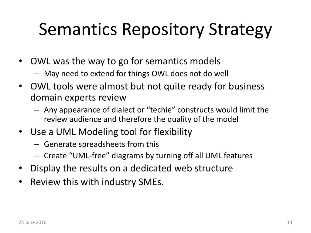 Semantics Repository Strategy