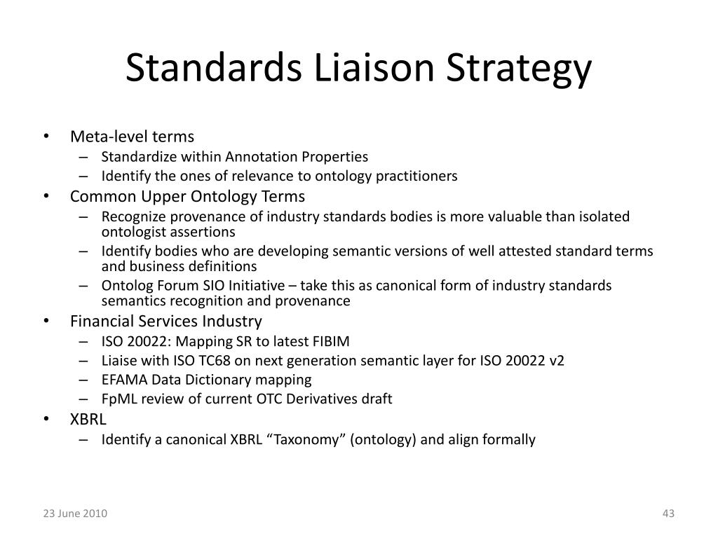 Standards Liaison Strategy