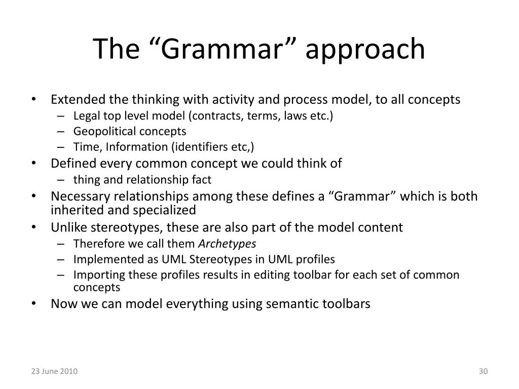 "The ""Grammar"" approach"