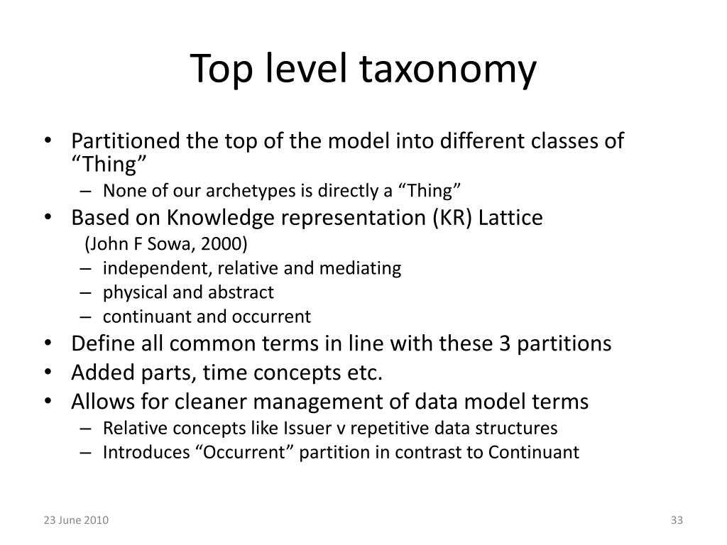 Top level taxonomy