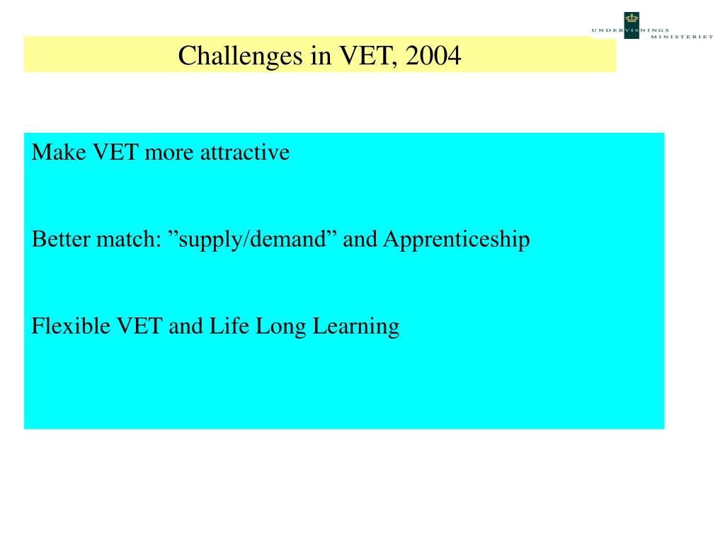 Challenges in VET, 2004