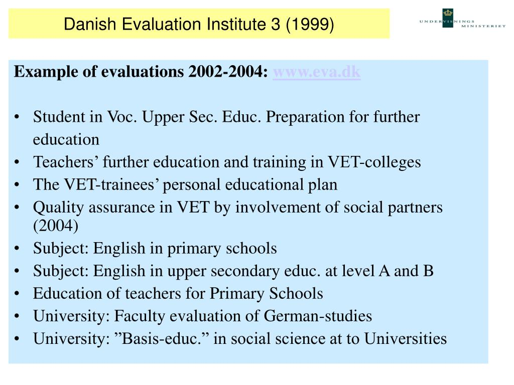 Danish Evaluation Institute 3 (1999)
