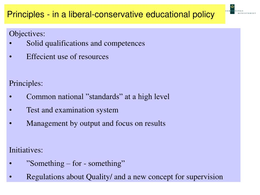 Principles - in a liberal-conservative educational policy