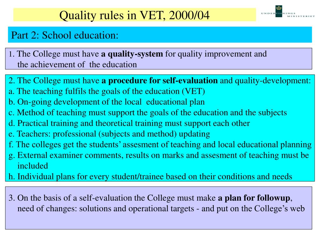 Quality rules in VET, 2000/04