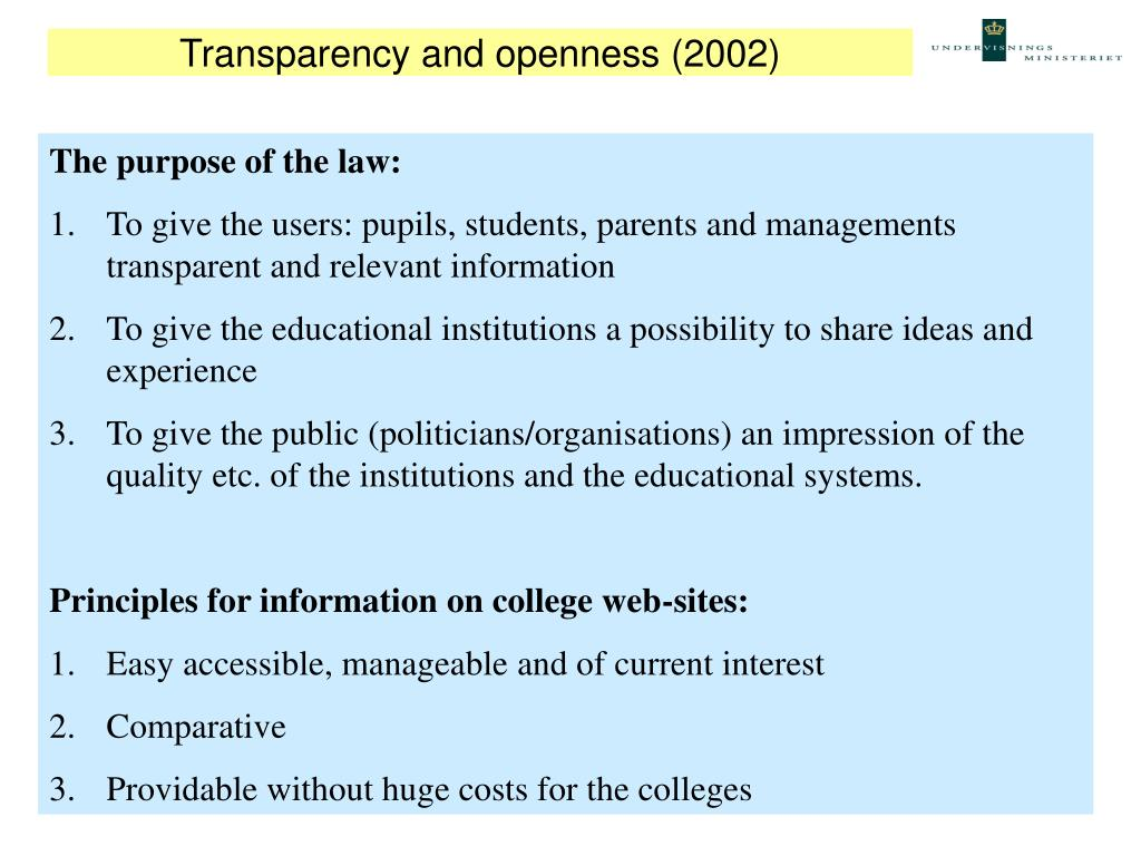 Transparency and openness (2002)