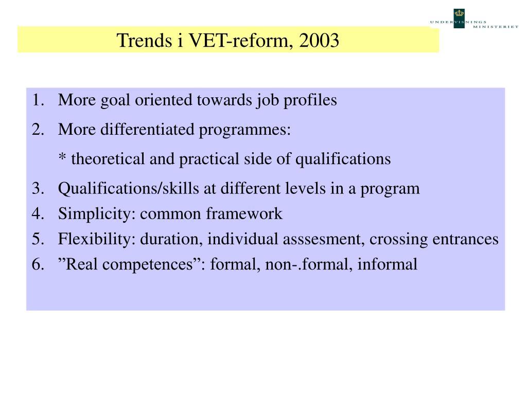 Trends i VET-reform, 2003
