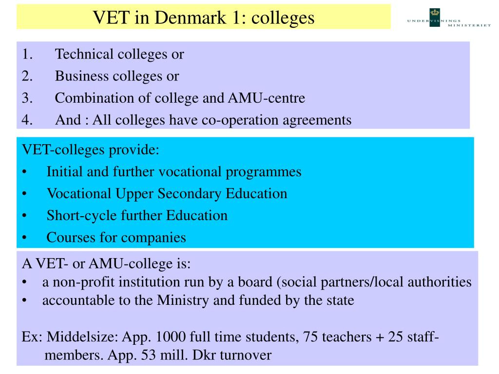 VET in Denmark 1: colleges