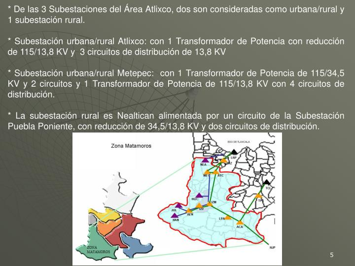 * De las 3 Subestaciones del Área Atlixco, dos son consideradas como urbana/rural y 1 subestación rural.