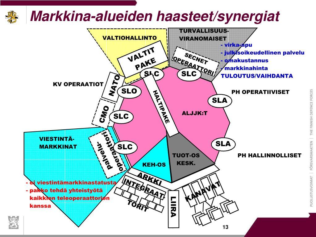 Markkina-alueiden haasteet/synergiat