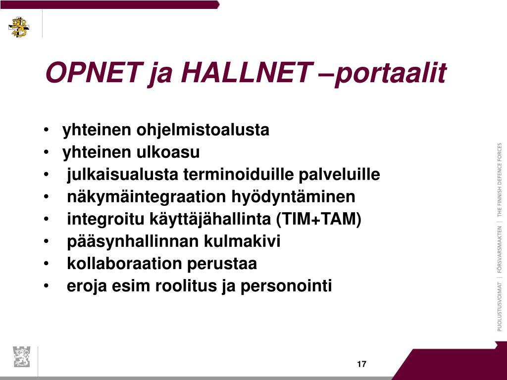 OPNET ja HALLNET –portaalit