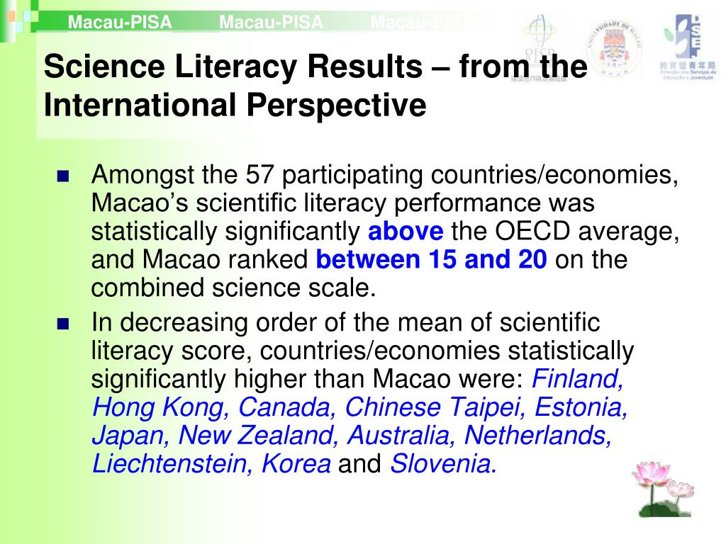 Amongst the 57 participating countries/economies, Macao's scientific literacy performance was statistically significantly