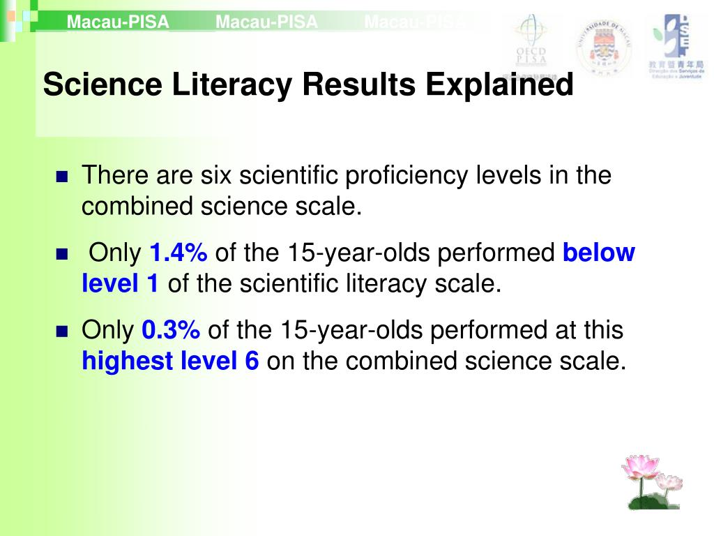 There are six scientific proficiency levels in the combined science scale.