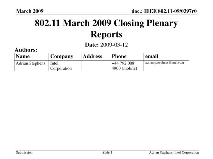 802 11 march 2009 closing plenary reports