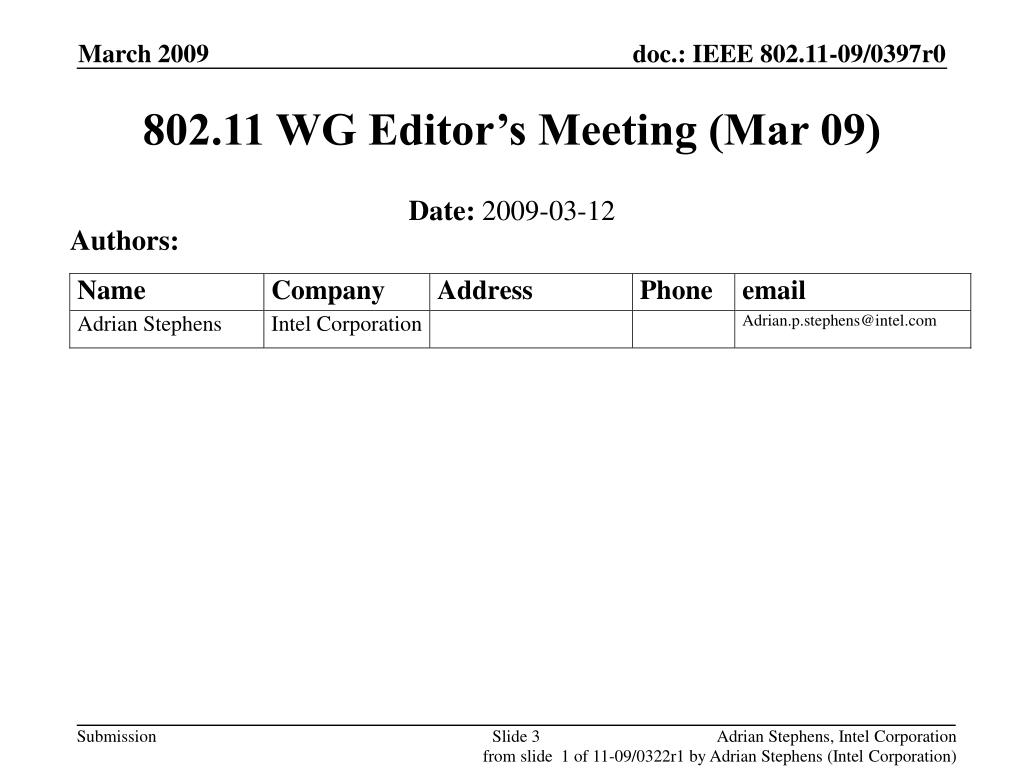 802.11 WG Editor's Meeting (Mar 09)