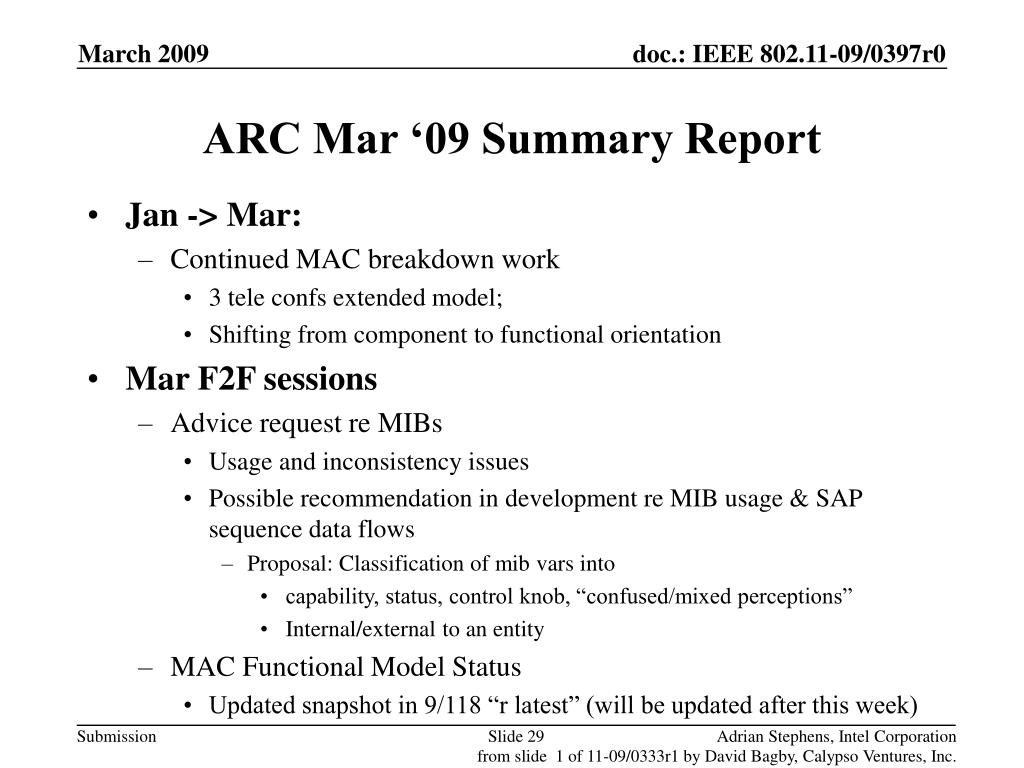 ARC Mar '09 Summary Report