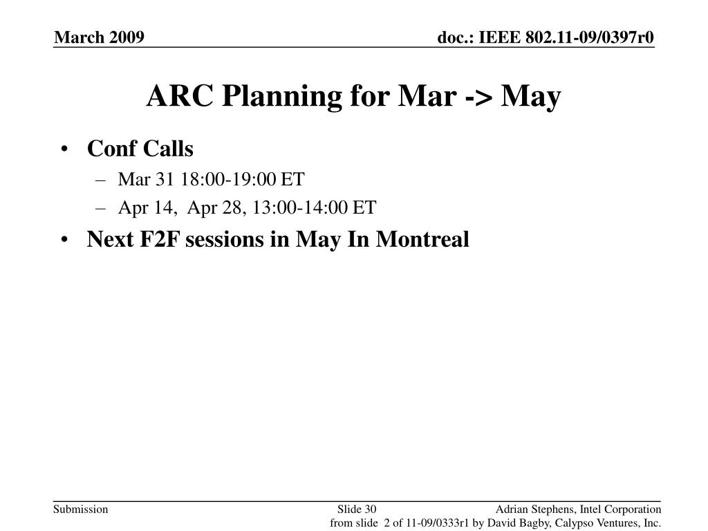 ARC Planning for Mar -> May