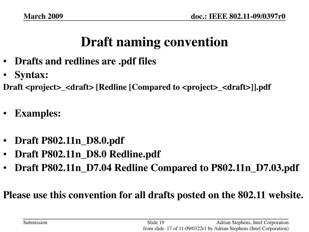 Draft naming convention