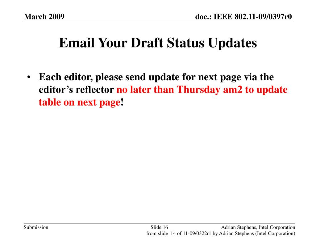 Email Your Draft Status Updates