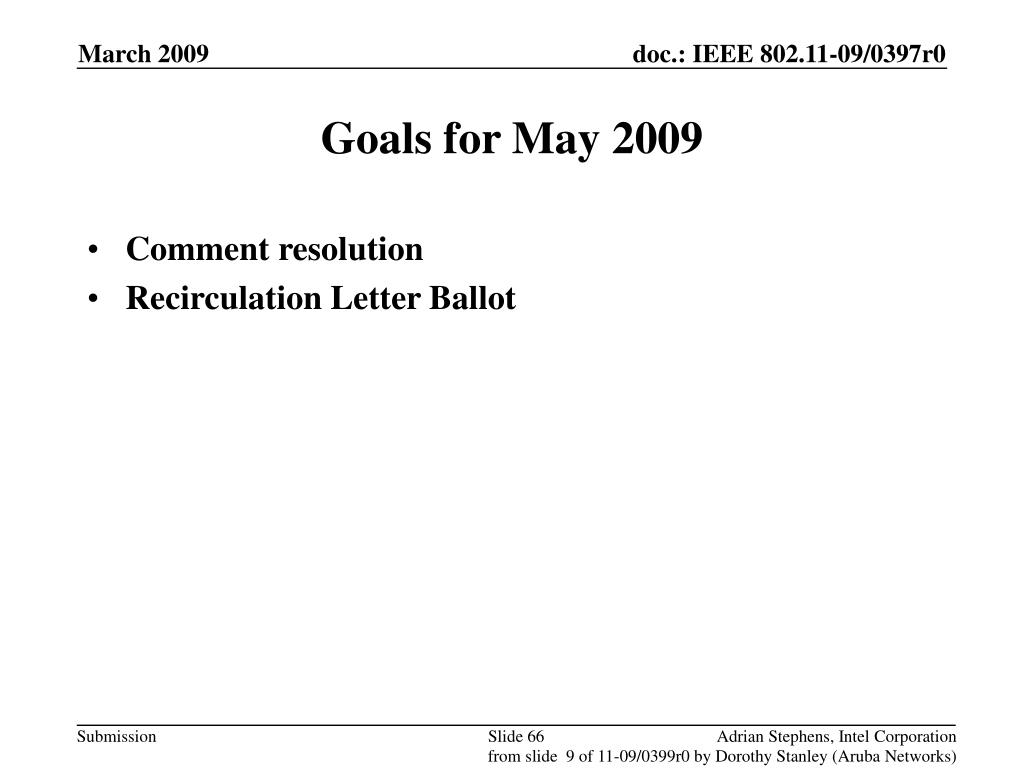 Goals for May 2009