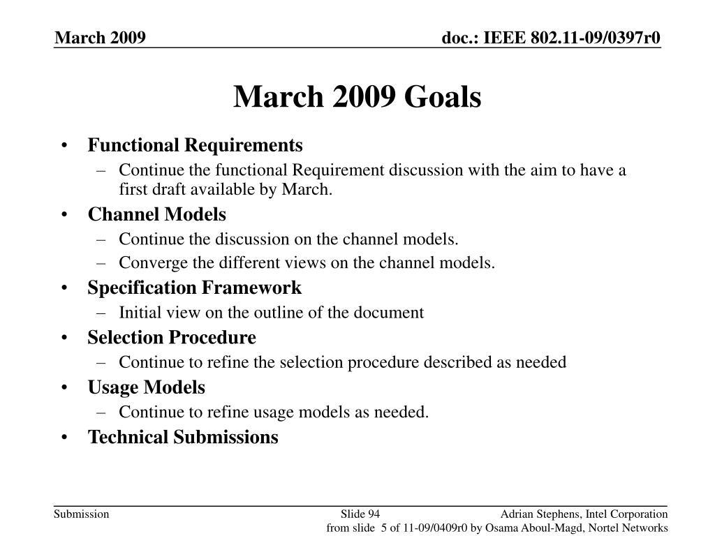 March 2009 Goals