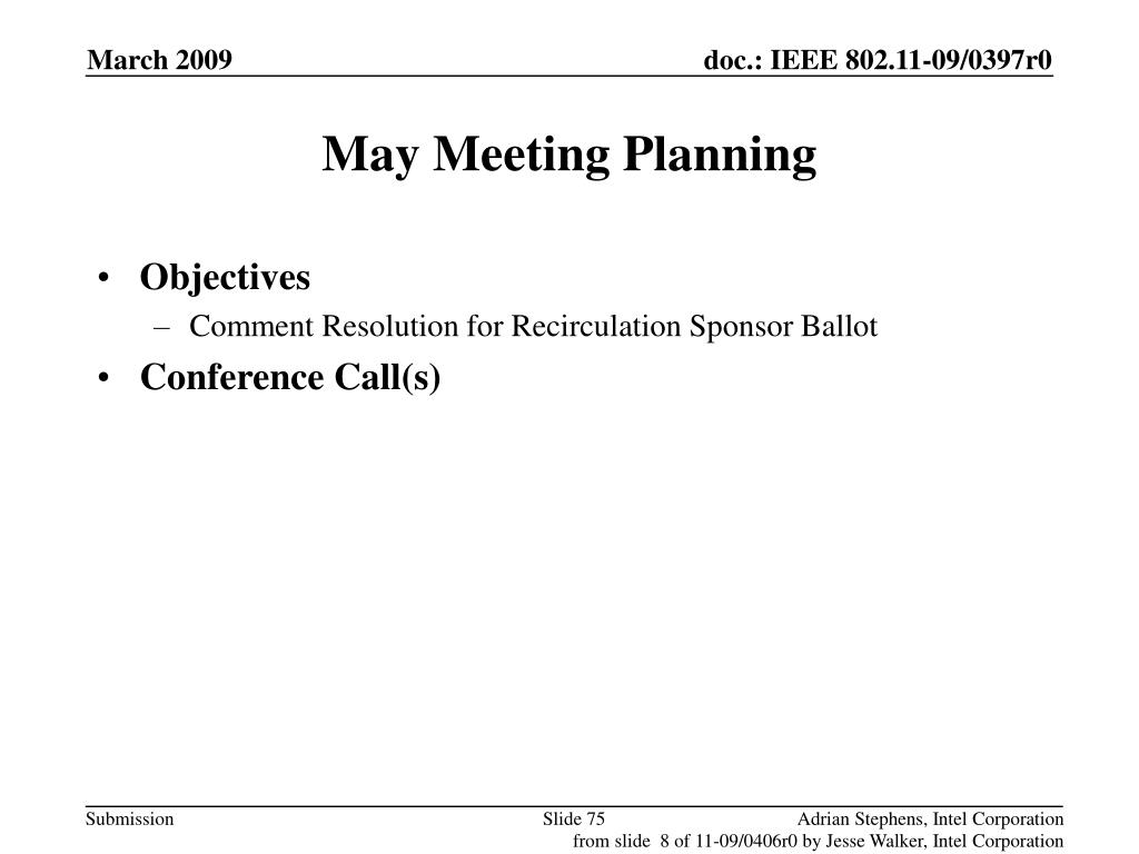 May Meeting Planning