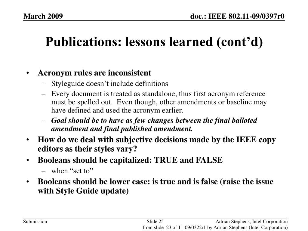 Publications: lessons learned (cont'd)