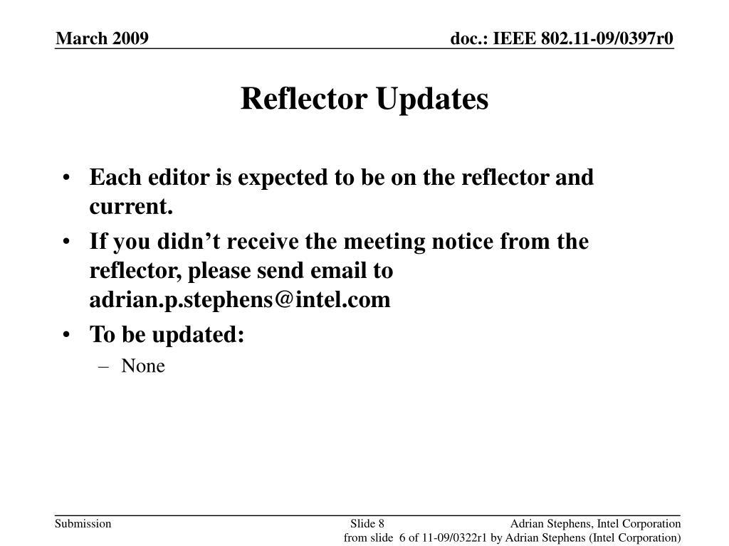 Reflector Updates